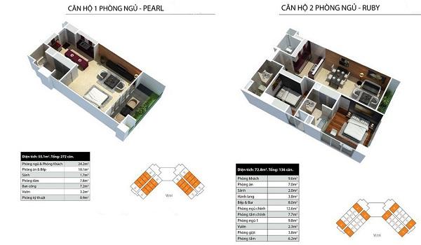 Thiết kế chi tiết căn hộ 1 phòng ngủ, 2 phòng ngủ và 3 phòng ngủ dự án Peninsula